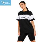 Custom Print моды Colorblock хлопка женщин сценарий футболки для девочек