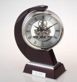 Secretária e relógio de mesa clássicos, elegante relógio de mesa de madeira
