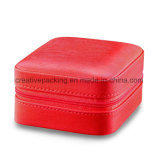 Form-Art-roter lederner Schmucksache-Kasten