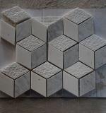 Le mattonelle di pietra di marmo romboidi, mattonelle di mosaico 3D, mattonelle di mosaico bianche di Carrara per la cucina