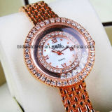 Montre de robe de montre-bracelet d'or de quartz d'alliage de qualité pour Madame