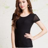 maglietta delle donne del manicotto di Short della maglia dello Spandex di 90%Cotton 10%