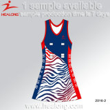 Healong 3D Sublimated Embroidery Any Logo Mulheres Bodysuit Faldas Netball