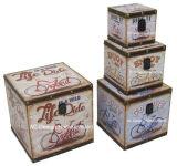 S/4 Doos van de Boomstam van de Opslag van de Druk Pu Leather/MDF van de Fiets van de Decoratie de Antieke Uitstekende Vierkante Houten