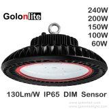 Interior Highbay Accesorio de iluminación de la luz de almacén impermeable 130lm/W regulable del Sensor de 300 vatios de 250W 200W 100W 60W 150W LED UFO Industrial de la luz de la Bahía de alta