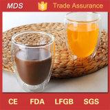 Tazas de café de cristal dobles modernas del OEM y del ODM de Handblown