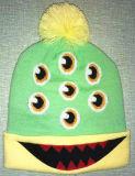 方法刺繍、縞の編むウールの帽子(S-1063)