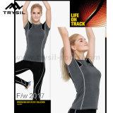 체조 능동태 셔츠가 숙녀 적당 t-셔츠 스포츠에 의하여 꼭대기에 오른다
