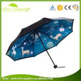 Couleur personnalisée et l'impression 3 pliage parapluie 21pouces Double couche