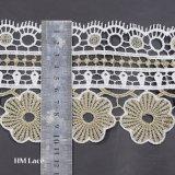 configuration florale 162 d'or de 10cm de cil de broderie de garniture large de lacet