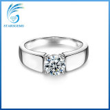 Runder 2cts Moissanite Diamant Solitare der Form-Art-silberner Ring