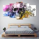 HD Druck 5 PCS-Schädel mit der Blumen-Segeltuch-Wand-Kunst, die modernen Hauptdekor-Wand-Kunst-Druck-Wohnzimmer-Dekor-Farbanstrich anstreicht