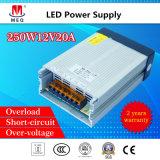 12V 20A wasserdichte Schalter-Modus-Stromversorgung 250W für Beleuchtung des Freien-LED draußen