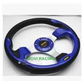 13inch PVCおよびアルミニウムが付いている青い車のハンドル