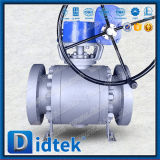 Didtek flangeou válvula de esfera macia do selo do eixo elevado de Preesure