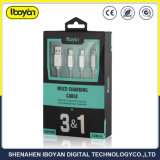 3 en 1 de la carga rápida Mobile Micro USB Cable de datos