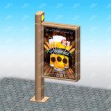 Tela de cristal material fuerte que hace publicidad de la visualización de poste de la lámpara