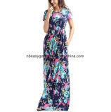 여자의 여름 꽃 무늬 가짜 포장 맥시 긴 복장 Esg10277