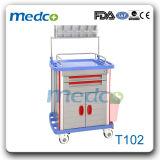 Plástico ABS de médicos do Hospital de anestesia carrinho de mão com grade
