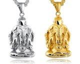 人の金の銀カラーステンレス鋼の宝石類のギフトのためのGaneshのインドゾウヘッドGaneshaの吊り下げ式のチェーンネックレス