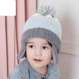 子供のかわいい冬の暖かい編まれた帽子のEarflap POM POMのかぎ針編みはキャップする1-5年(HW601)間ヘッド耳のウォーマーの帽子を