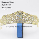 Parte superiore di cristallo del diadema dell'oro caldo di vendita per la parte superiore nuziale dei Rhinestones della parte superiore di cerimonia nuziale dei monili dei capelli dei capelli di cerimonia nuziale (EC16)