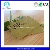 Металлическая золотистая карточка PVC члена