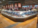 Vordere schiebendes Glas-Feinkostgeschäft-Bildschirmanzeige-Kühlvorrichtung mit 90 Grad Ecken-