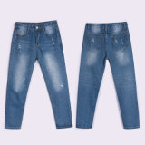 Bei jeans di lavaggio tagliati blu con il piedino diritto per la signora (HDLJ0033-17)