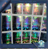 Micro etiqueta do mestre do holograma do texto