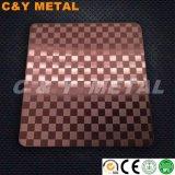 Hoja de acero inoxidable decorativos con el indicador, aguafuerte y Red-Wine colores