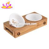 Bacias cerâmicas de madeira do cão do alimento barato por atacado da água do alimentador do animal de estimação com carrinho W06f057