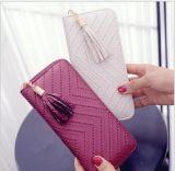 Женщины уже давно муфты из натуральной кожи бумажник PU держатель карточки леди кошелек дамской сумочке конверт сумка Tassel бумажник ID владельца карты