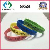A tinta larga encheu o Wristband personalizado letras do silicone/silicone (KSD-884)