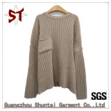 Camisola pura Long-Sleeved do Twill da cor da garganta redonda das mulheres