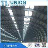 Estructura de acero prefabricada arrojar la construcción de almacén o taller/garaje con puerta de rodadura