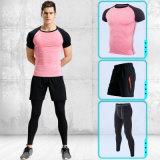 Спорты одевая, люди 3PCS людей пригодности спортов установили быстро сухие атлетические верхнюю часть, гетры & краткости тенниски тренировки