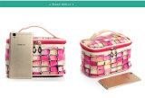 El bolso cosmético de Necessaire del caso de la belleza del artículo de tocador de la cremallera del bolso del recorrido profesional compone el kit de recorrido del organizador del maquillaje de la bolsa