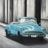 Met de hand gemaakte Olieverfschilderij van de Auto van de Kunst van het Ontwerp van Morden het Bevallige van Blauwe Auto