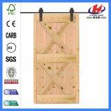 Porte de grange en verre composée en bois solide de dispositif trembleur de pin (JHK-SK11)