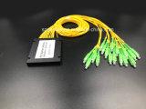 광학 섬유 케이블 Gpon 원거리 통신 1X16 플라스틱 상자 PLC 쪼개는 도구 Sc/APC