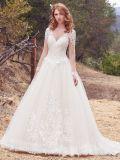Амели скалистых 2018 длинной втулки кружева вышитого тюля свадебные платья
