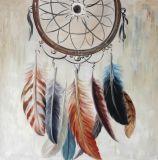 Atractivas plumas de colores hechas a mano de pintura al óleo con Glitter