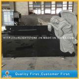 Изготовленный на заказ надгробная плита Headstone памятника гранита Индии черная (с высекать ангела)