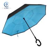 Paraplu van het Bewijs van de Wind van de Laag van het Handvat van de C de Dubbele Kleurrijke Omgekeerde