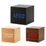 Mini Reloj Control de los sonidos de la madera nueva madera modernos LED Digital Reloj Despertador Escritorio reloj de mesa de madera de cabecera