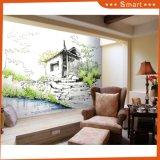 Maison en bois sur la peinture à l'huile de la rivière sur toile pour l'art suspendu