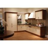 優雅白いラッカーおよび木穀物カラー対照の台所食器棚