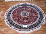 Handmade ronde tapis en soie