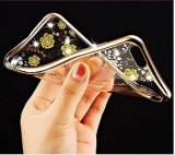 Rose Gold TPU Plating Clear Shiny Rhinestone Cover Case Series pour iPhone 7 4.7 pouces